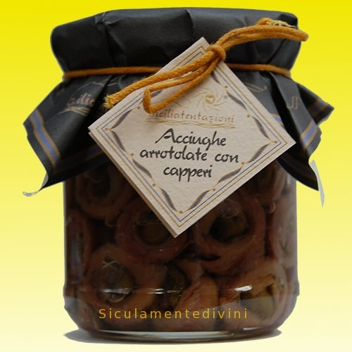 Acciughe arrotolate con capperi
